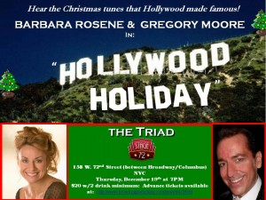 Please join us for some holiday cheer and traditional   seasonal tunes at the lovely Triad Theater on 72nd Street.